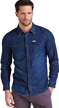 Guess - Camisa Vaquera Efecto Desgastado para Hombre Jeans S ...