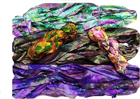 Sari Silk Ribbons (Pack of 3) Assorted Ribbon Yarns - Recycled Silk Ribbons - Silk Strips - for Mix Media, Rug Making, Jewellery, Wrapping