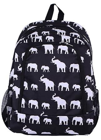 6d2cf6f95416 NBN-E-BW-1 Big Backpack Black white elephant Pattern Design