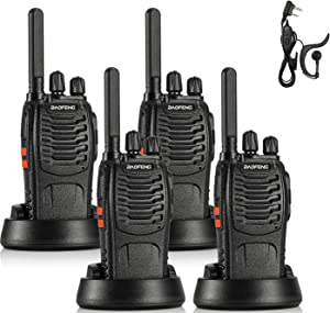 BAOFENG BF-88ST FRS Radio Long Range License-Free Two Way Radio, Upgrade Version of BF-888S Walkie Talkie, 16CH VOX USB Charging LED Flashlight, with Earpiece, 4 Pack