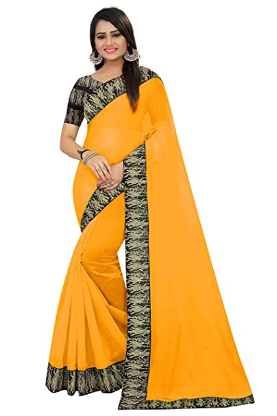 faa2febec2d50b SilverStar Women s Yellow Color Plain Chanderi Cotton Lace Work Saree with  Kalamkari Printed Blouse Piece  Amazon.in  Clothing   Accessories