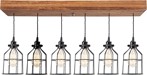 West Ninth Vintage Fayette Wood Pendant Chandelier Light – Farmhouse Rustic Lighting for Kitchen Island – Dining Room – Bar – Industrial – Billiard Table – Edison Cages – Six Pendants – Early American