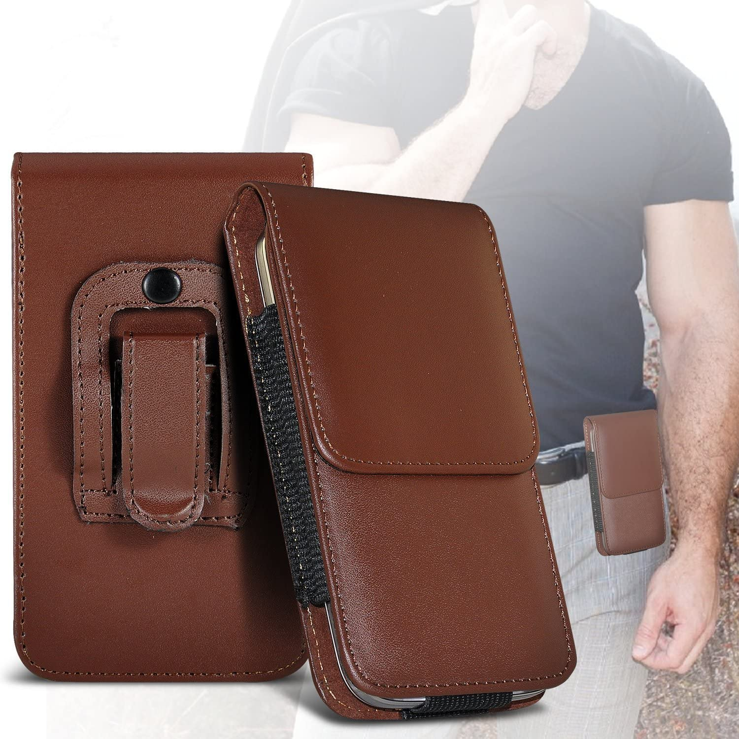 Brown Premium Vertical Faux Leather Belt Holster Pouch Cover Case With Magnetic Closure For Nokia 7 plus I-Sonite