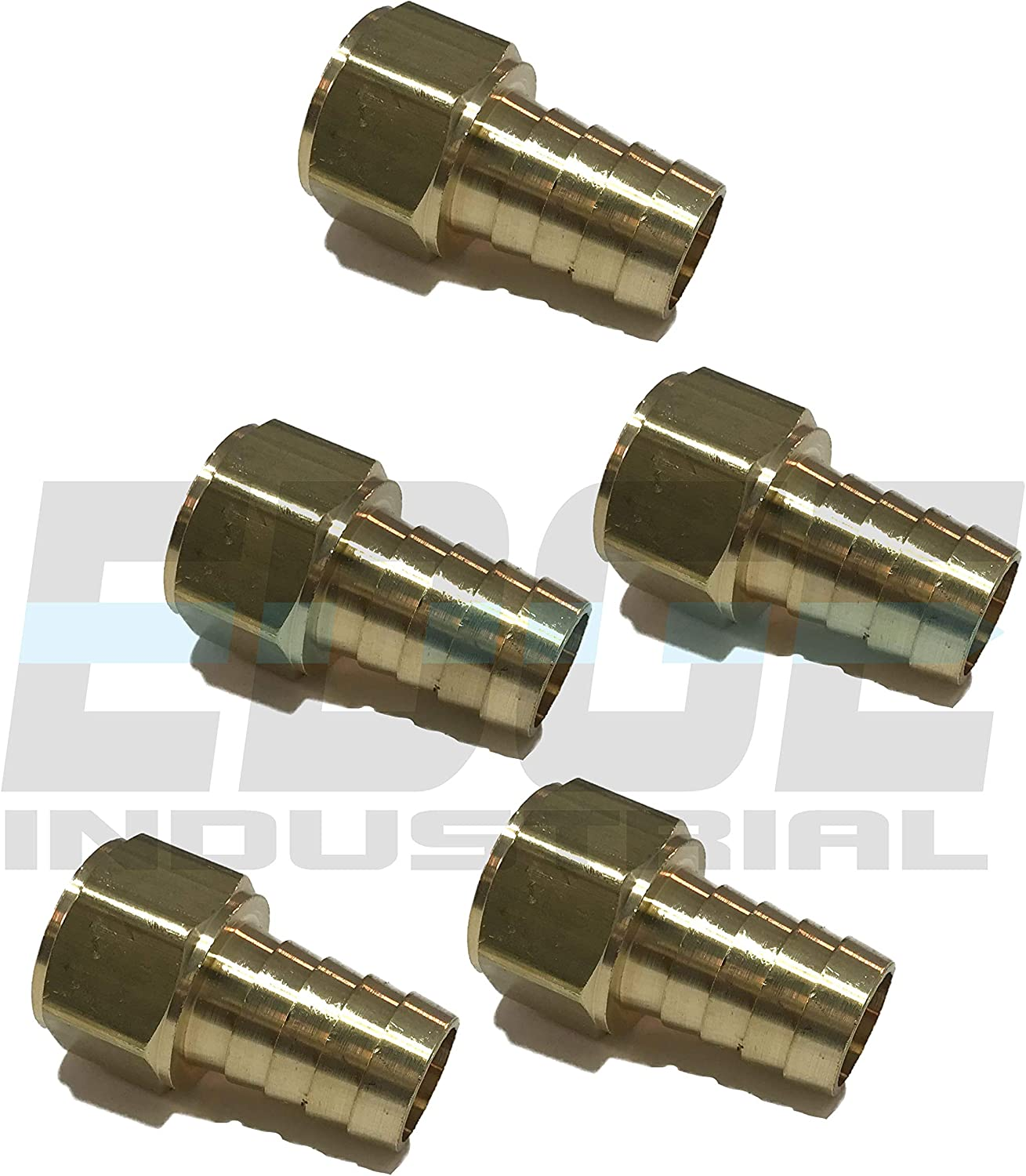Water AIR Gas EDGE INDUSTRIAL 5//8 Hose ID to 1//2 Female NPT FNPT Straight Brass Fitting Fuel Oil WOG Qty 01