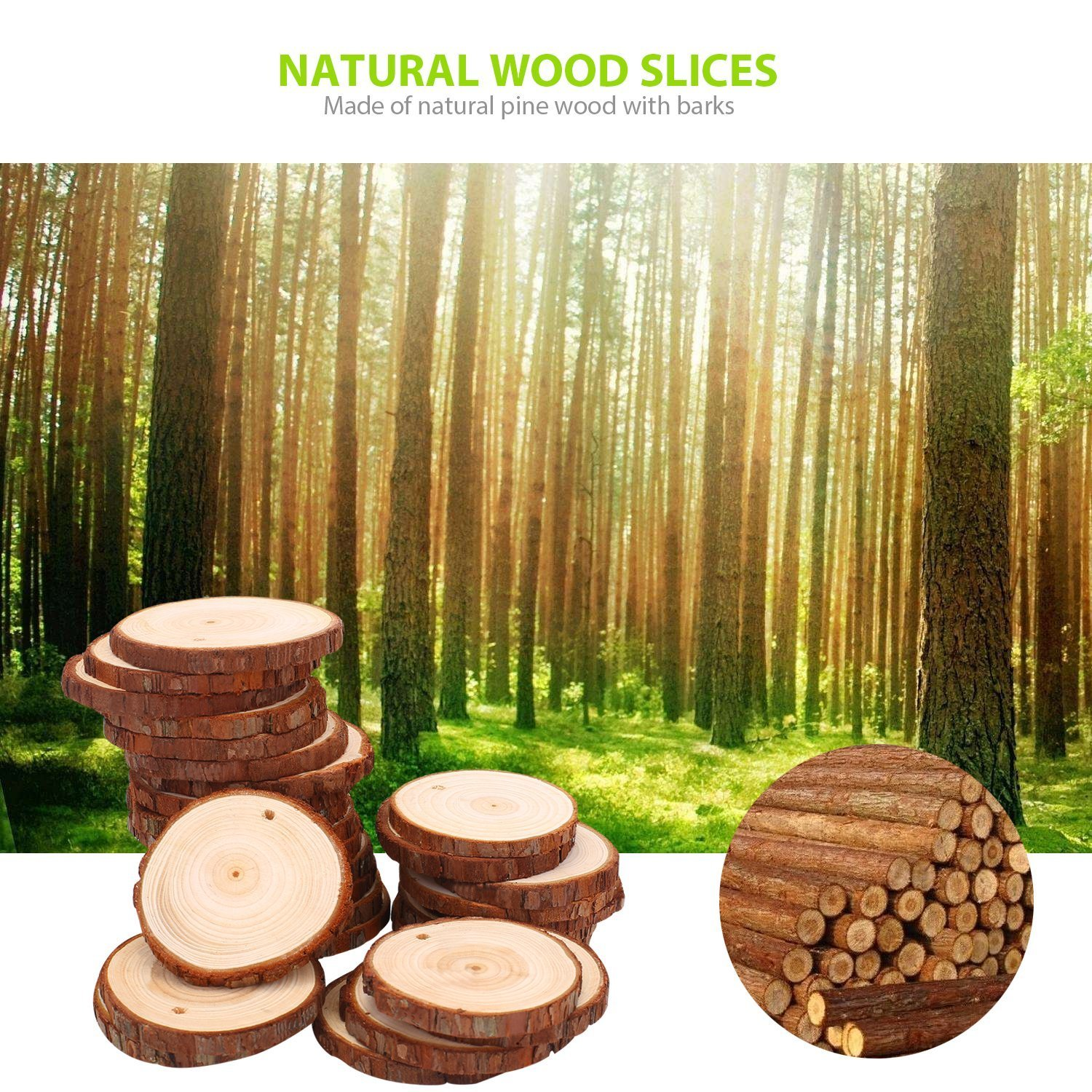 30pcs 2.75 3.14 Natural Wood Slices Craft Wood kit Unfinished Predrilled with Hole Wooden Circles Great for Arts and Crafts Christmas Ornaments DIY Crafts
