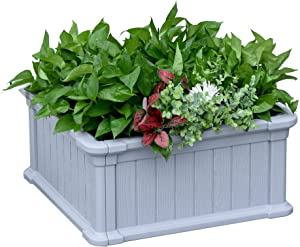 Outsunny 24'' x 24'' x 12'' Raise Garden Bed Kit, Planter Box Above Ground for Flowers/Herb/Vegetables Outdoor Garden Backyard with Easy Assembly, Grey