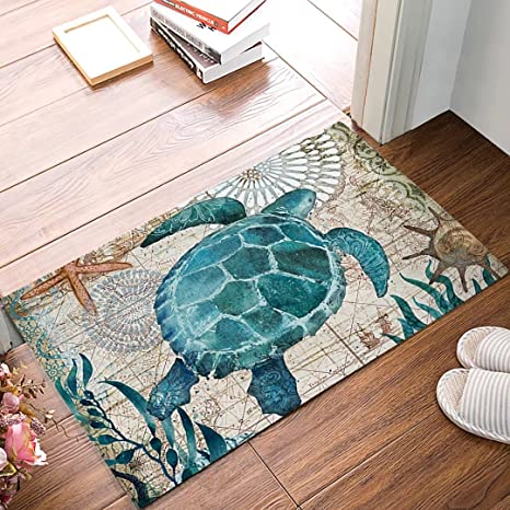 Watercolor Sea Turtles Door Mat Indoor Outdoor Non Slip Rubber Entrance Mats Rugs For Bathroom Front Doormat Ocean Animal Home Kitchen