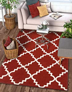 """Harbor Trellis Red Quatrefoil Geometric Modern Casual Area Rug 3x5 (3'3"""" x 4'7"""") Easy to Clean Stain/Fade Resistant Shed Free Contemporary Traditional Moroccan Lattice Soft Living Dining Room Rug"""