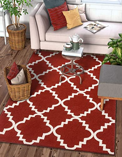 Harbor Trellis Red Quatrefoil Geometric Modern Casual Area Rug 3×5 3 3 x 4 7 Easy to Clean Stain Fade Resistant Shed Free Contemporary Traditional Moroccan Lattice Soft Living Dining Room Rug
