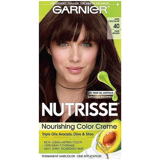 Garnier Nutrisse Nourishing Hair Color Creme, 40 Marrón oscuro (chocolate oscuro) (el embalaje puede variar)