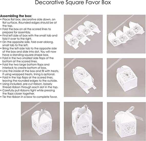 White Blank Set of 25 boxes Favor Box Linked At The Heart