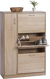 ts-ideen - Zapatero de madera blanco ideal para baño, pasillo o vestíbulo, con 3 compartimentos + 1 puerta, 120 x 80 cm: Amazon.es: Hogar