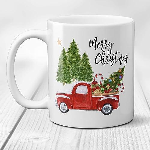 merry christmas coffee mug with vintage red truck and christmas tree 11 or 15 oz