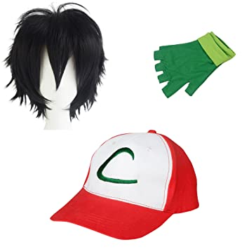 86901a19 thematys Pokemon Trainer Ash Ketchum Cap Beanie + gloves + wig - Costume-Set  for