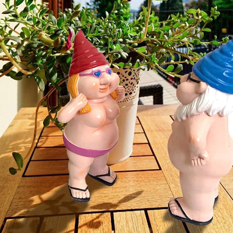 Un Bel Regalo per Gli Amanti dei Nani ASASD 2PCS Garden Goblin-Art Decoration Resin Peeing Dwarf Naughty Garden GNOME Statue Decorations 5.1 inch Funny Naked GNOME Statue