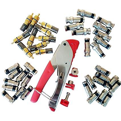3 en 1 Enchapado en coaxial conector de compresión Kit – Herramienta de prensa Crimp/