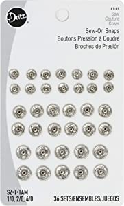 Dritz 81-65 Sew-On Snaps, Size 1/0, 2/0 & 4/0, Nickel-Plated Brass, 36 Count
