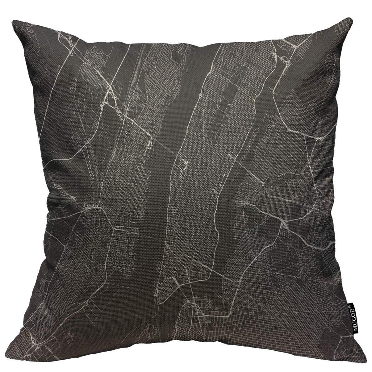 Mugod Throw Pillow Cover Black City with All Streets of New York Surroundings Map White Manhattan NYC Home Decor Square Pillow Case for Men Women Bedroom Livingroom Cushion Cover 18x18 Inch