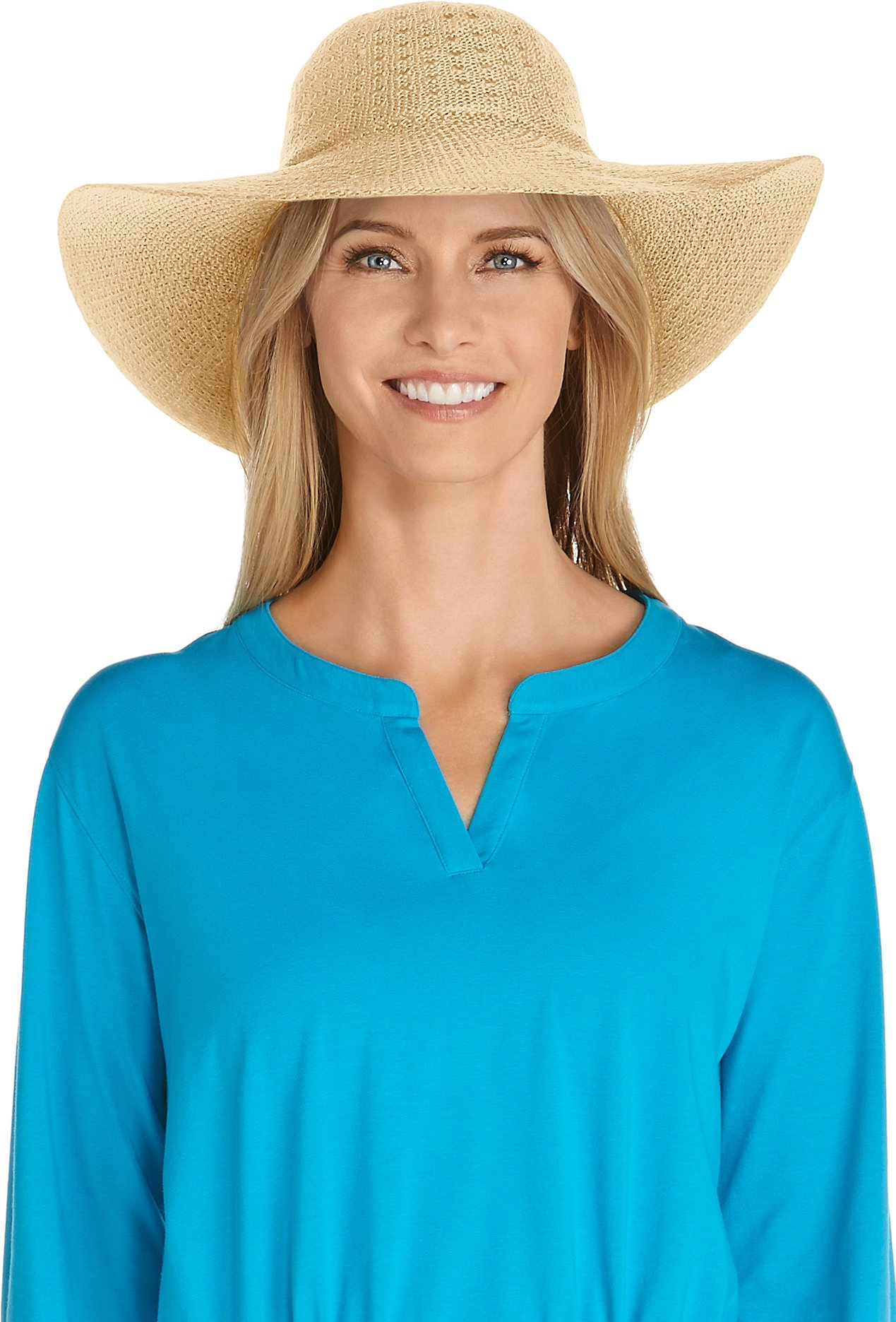Coolibar UPF 50+ Women's Packable Wide Brim Hat - Sun Protective (One Size- Natural)