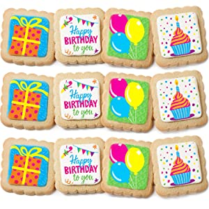 Happy Birthday Cookies 12 PACK Decorated | INDIVIDUALLY WRAPPED Party Favors Gift Box | Nut Free For Kids Men Women