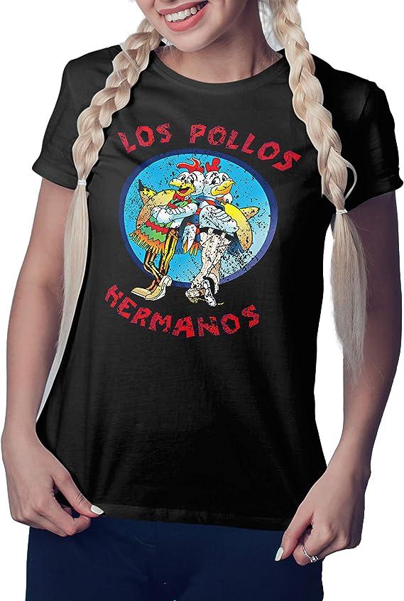 Breaking Bad Los Pollos Hermanos Vintage Retro Negra Camiseta Mujer: Amazon.es: Ropa y accesorios