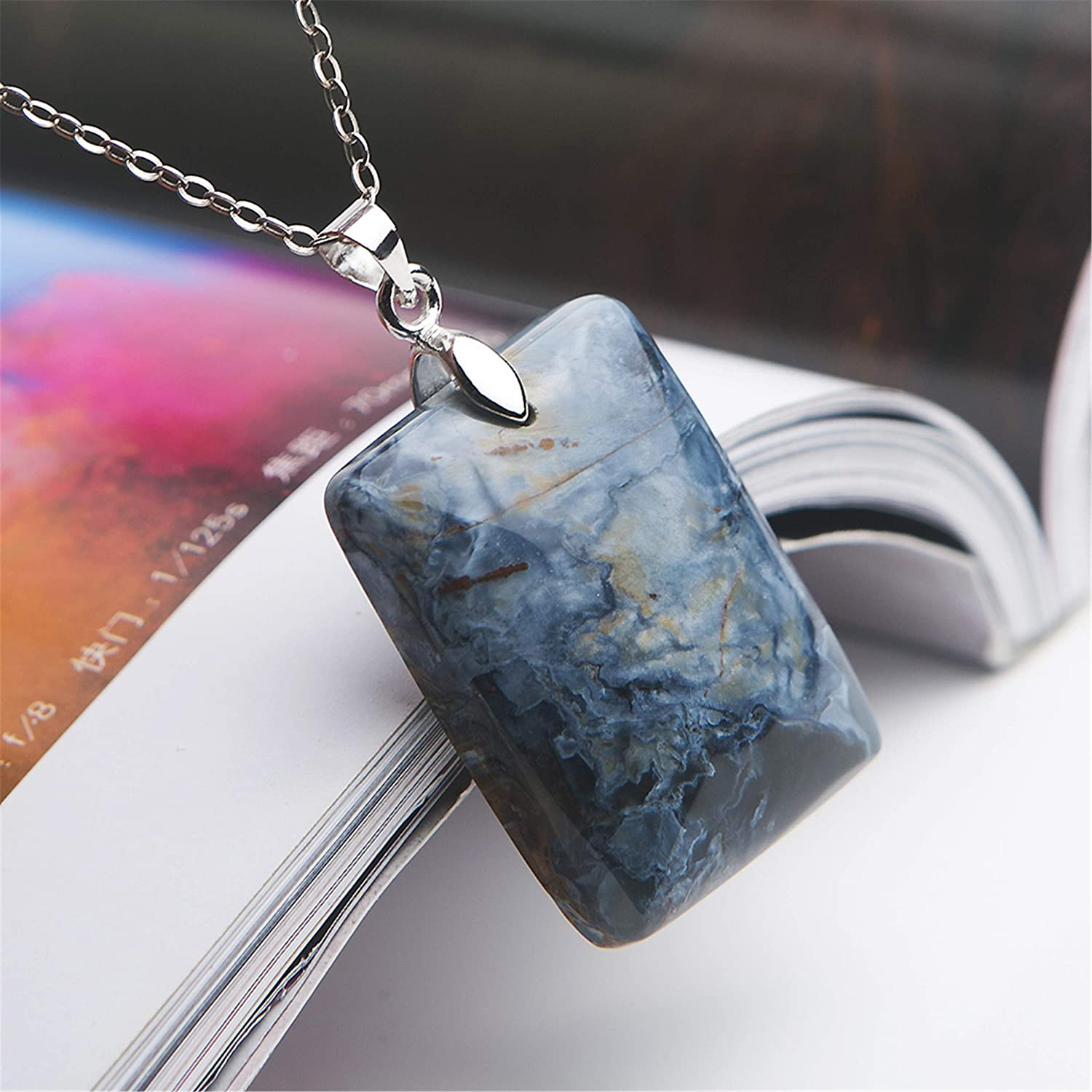 LiZiFang Natural Blue Pietersite Gemstone Rectangle Crystal Bead Pendant 30x22x8mm