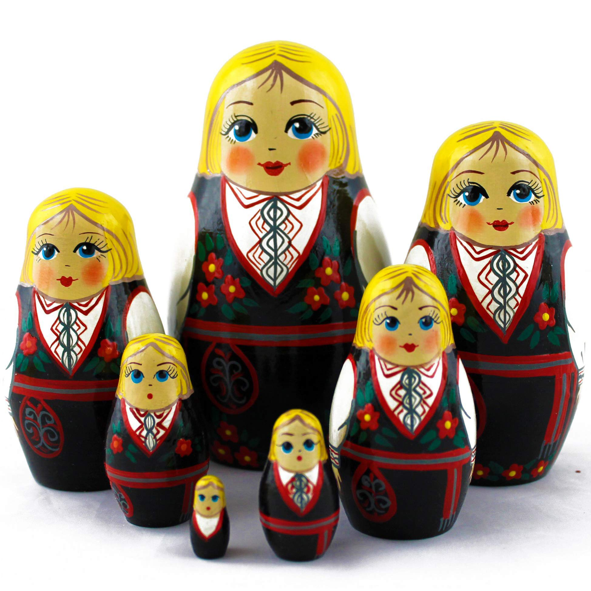 Wooden Nesting Dolls - Matryoshka Dolls Norwegian Folk Dress Set 7 pcs by MATRYOSHKA&HANDICRAFT
