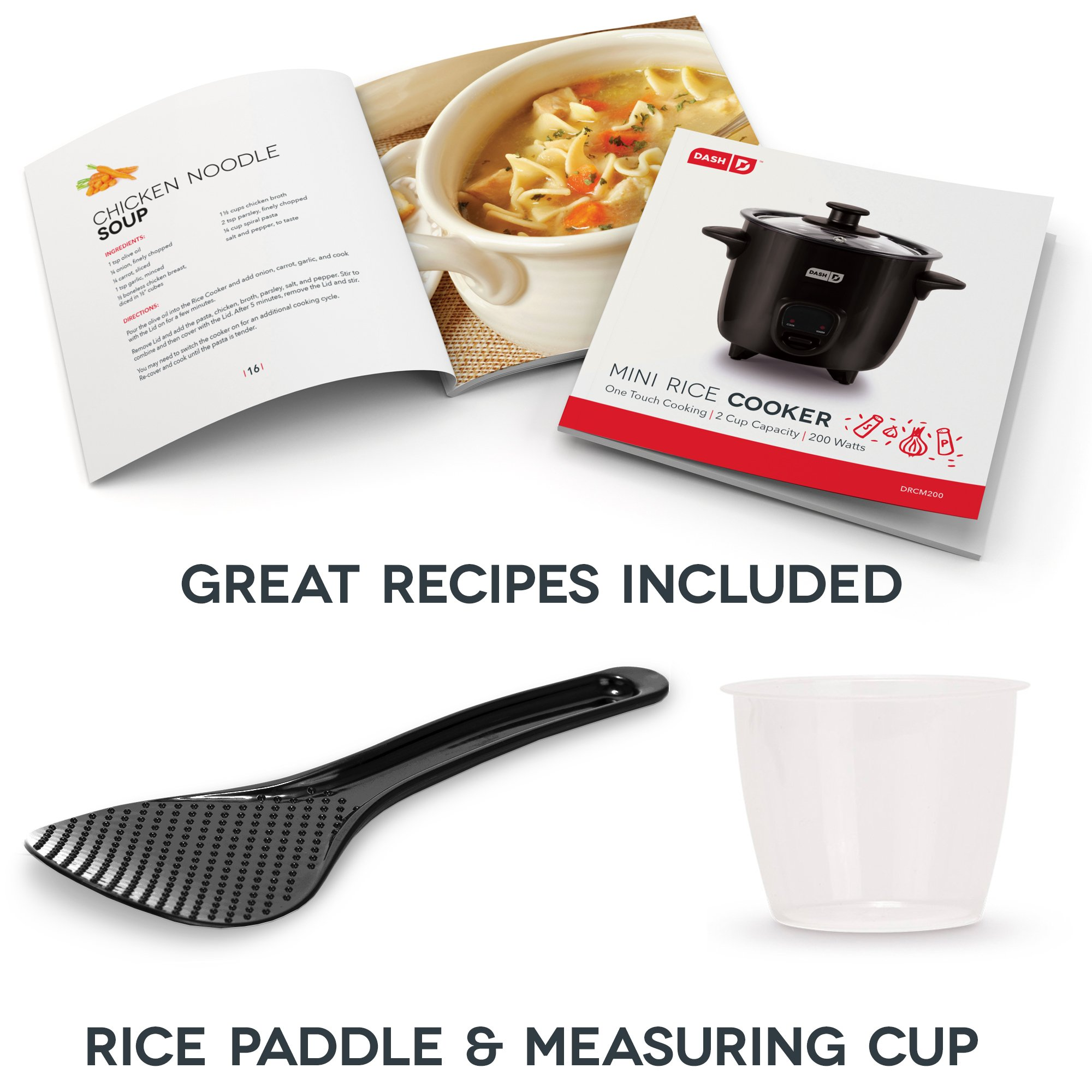 Dash DRCM200BK Mini Rice Cooker Steamer with Removable Nonstick Pot, Keep Warm Function and Recipe Guide -, 2 Cups, Great for Soups, Stews, Grains and Oatmeal -, Black by Dash (Image #6)