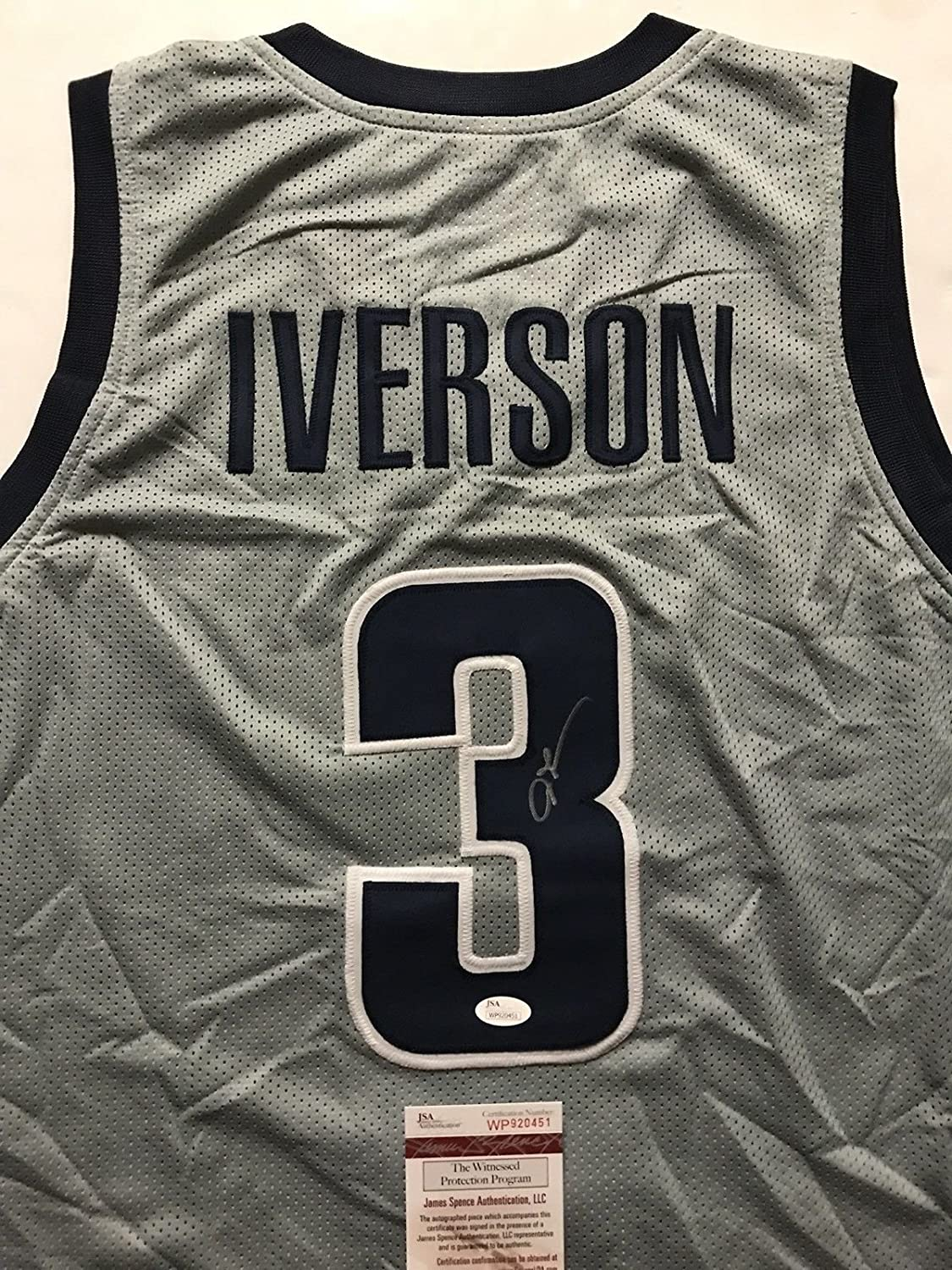 quality design 7d13f 18173 Autographed/Signed Allen Iverson Georgetown Grey College ...