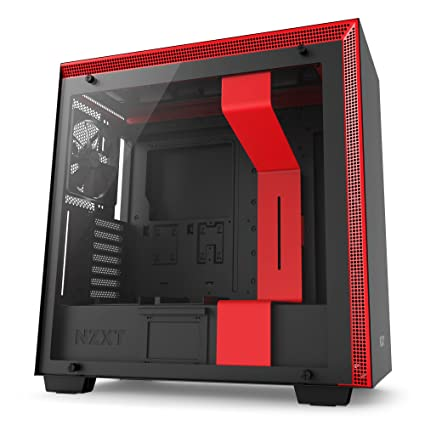 NZXT H700 - Caja PC Gaming de tamaño mediano ATX - Panel de vidrio templado - Preparado para refrigeración líquida - Negro/Rojo - Versión 2018