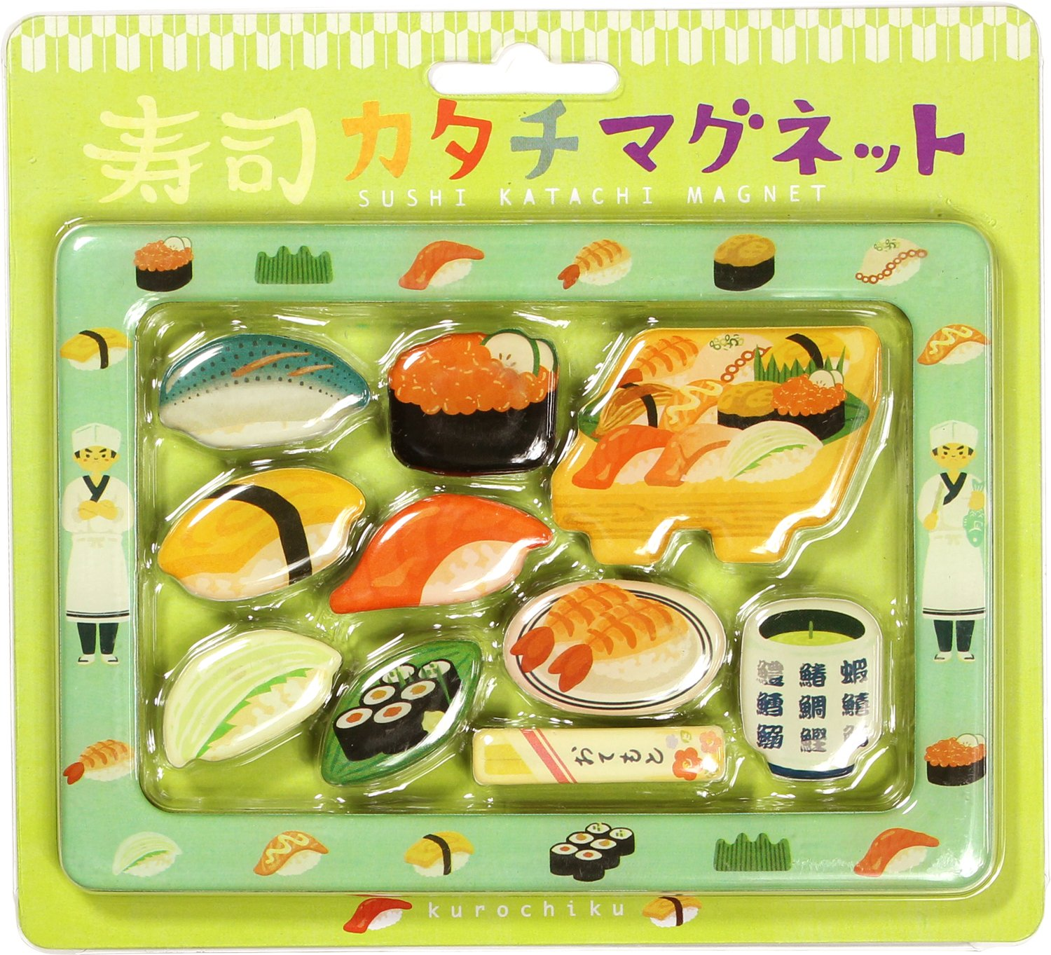 71406910 Japan Kawaii Japanese Sushi Magnet Assort 10pcs with Photo Frame, Kyoto Kurochiku