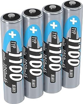 Ansmann 5035232 - Pack de 4 pilas recargables (1100 mAh, 1.2 V, AAA), gris: Amazon.es: Electrónica