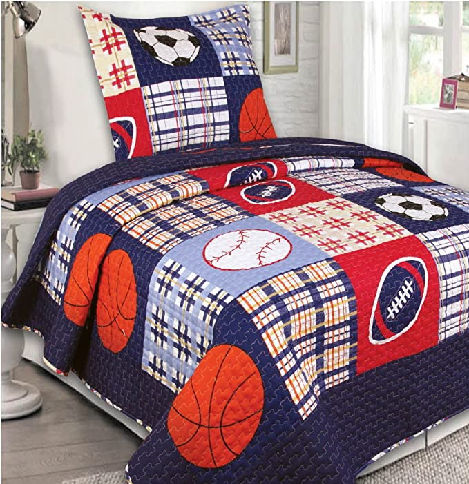 Amazon.com: Elegant Home Multicolor Blue Red White Orange Patchwork Sports Basketball Football Baseball Soccer Design 2 Piece Coverlet Bedspread Quilt for Kids Teens Boys Twin Size # 26: Home & Kitchen