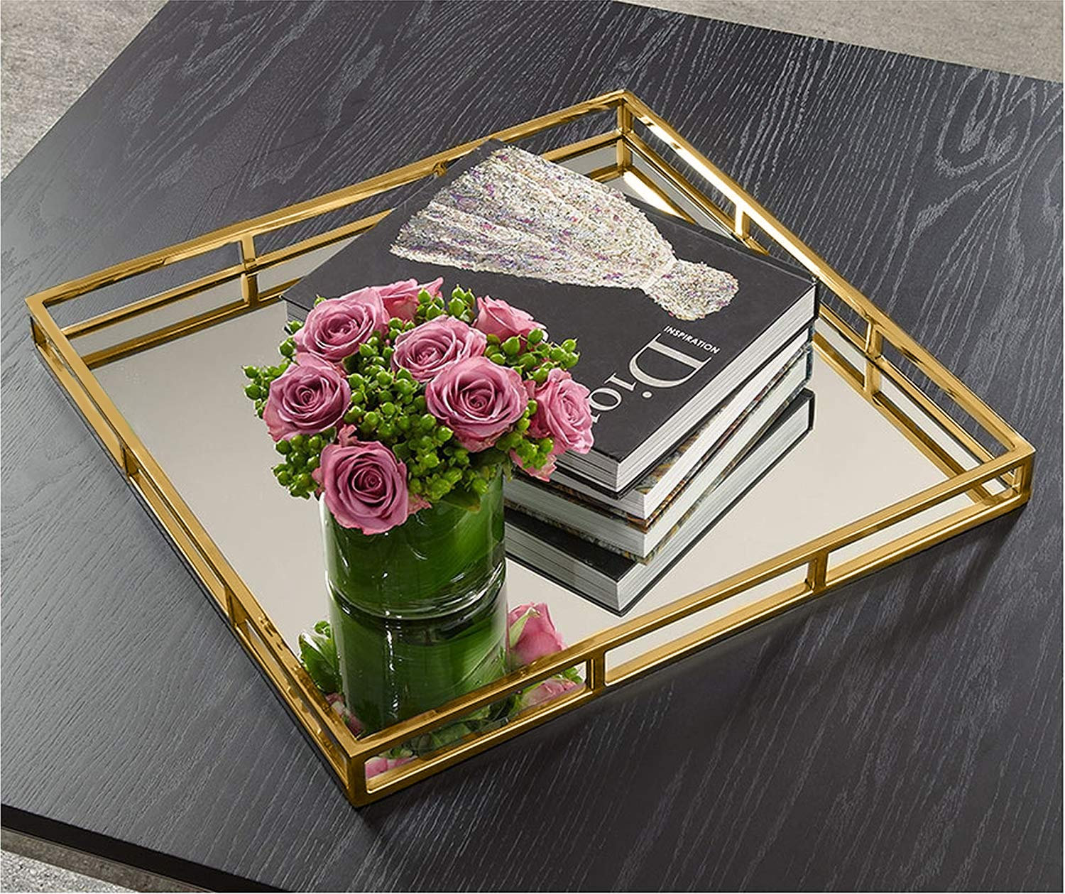 Elegant Mirror Vanity Tray, Gold Perfume Tray with Side Rails Ideal for Makeup, Jewelry and Bathroom Counter - Square Mirrored Tray Makes A Great Gift - 16 Inch by Le'raze