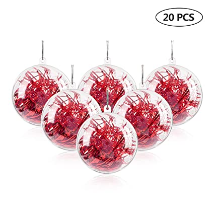 "Uten 20Pcs DIY Ornament Balls Christmas Decorations Tree Ball  3.15""/80mm Clear Fillable Baubles - Amazon.com: Uten 20Pcs DIY Ornament Balls Christmas Decorations Tree"