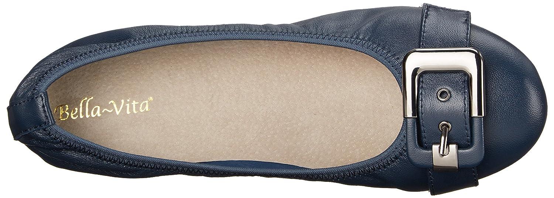 Bella Vita Women's Twirl Ballet Flat B00ZID403M 6.5 XW US Navy Leather