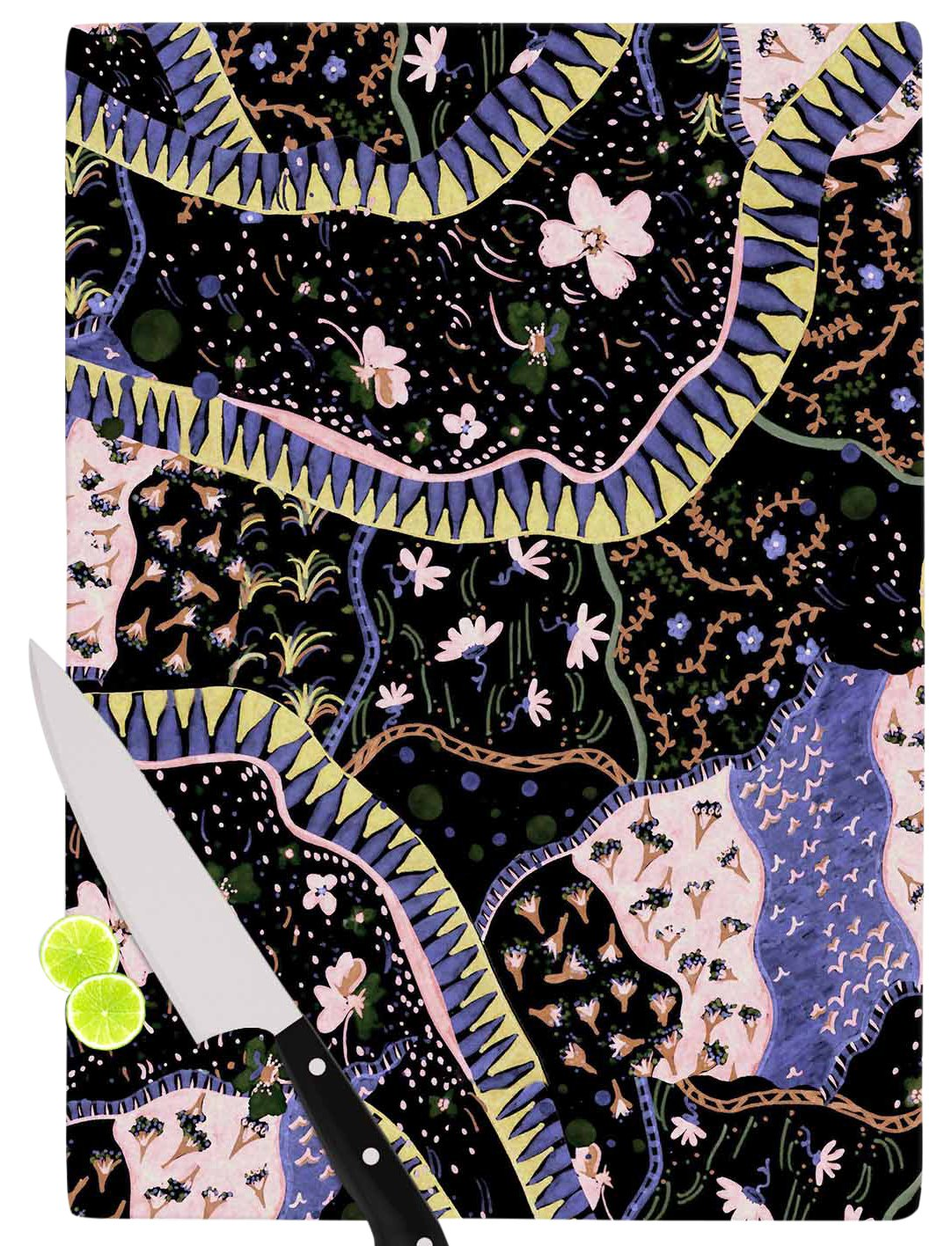 KESS InHouse Fernanda SternieriOriental Patchwork Black Pattern Cutting Board 11.5 x 15.75 Multicolor