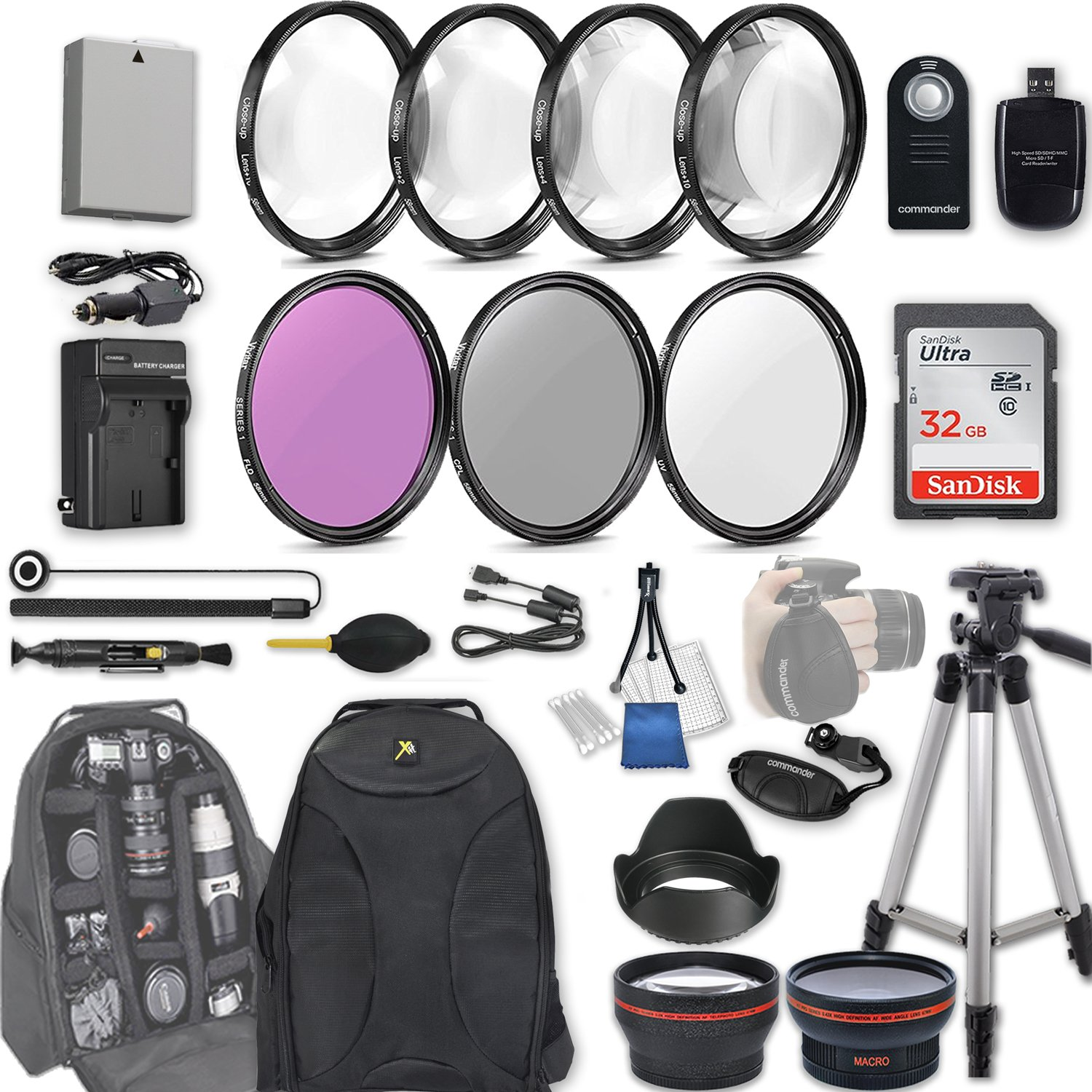 58mm 28 Pc Accessory Kit for Canon EOS Rebel T3i, T5i, 300D, 700D DSLRs with 0.43x Wide Angle Lens, 2.2x Telephoto Lens, 32GB SD, Filter & Macro Kits, Backpack Case, and More by 33rd Street