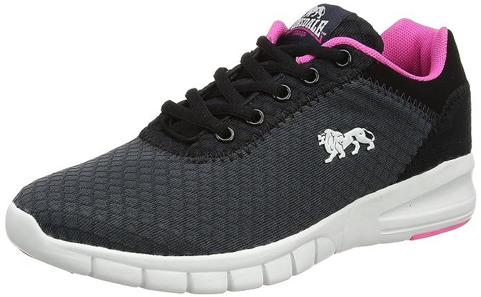 Lonsdale Southwick, Zapatillas de Deporte para Exterior para Mujer, Gris (Charcoal/Black/Pink), 39 EU
