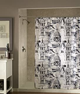 Travel Black White Fabric Shower Curtain By MStyle 72 Wide X