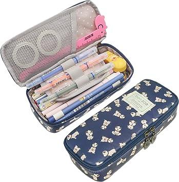 Long Cute Colored Dots Pencil Case Pouch Box Pen Holder Bag Boys Girls School