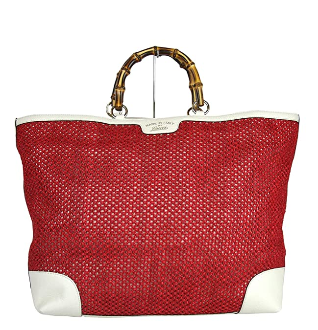 eeb16cb6df2 Amazon.com  Gucci Women s Red Straw Leather Large Top Bamboo Shopper Handle  Tote 338964  Shoes