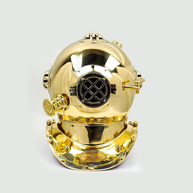 Laiton Poli Casque d/écoratif de Bateau Maritime 45,7 cm Nagina International Casque Nautique de plong/ée 18