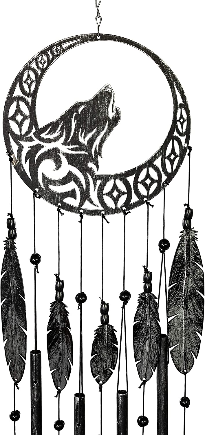 VP Home Tribal Wolf Dreamcatcher Outdoor Garden Decor Wind Chime (Rustic Charcoal)