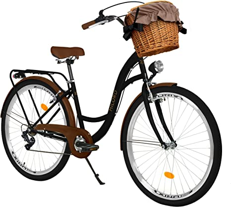 Milord Bikes Bicicleta de Confort, Negro-marrón, de 7 Velocidad y 28 Pulgadas con Cesta y Soporte Trasero, Bicicleta Holandesa, Bicicleta para Mujer, Bicicleta Urbana, Retro, Vintage: Amazon.es: Deportes y aire libre