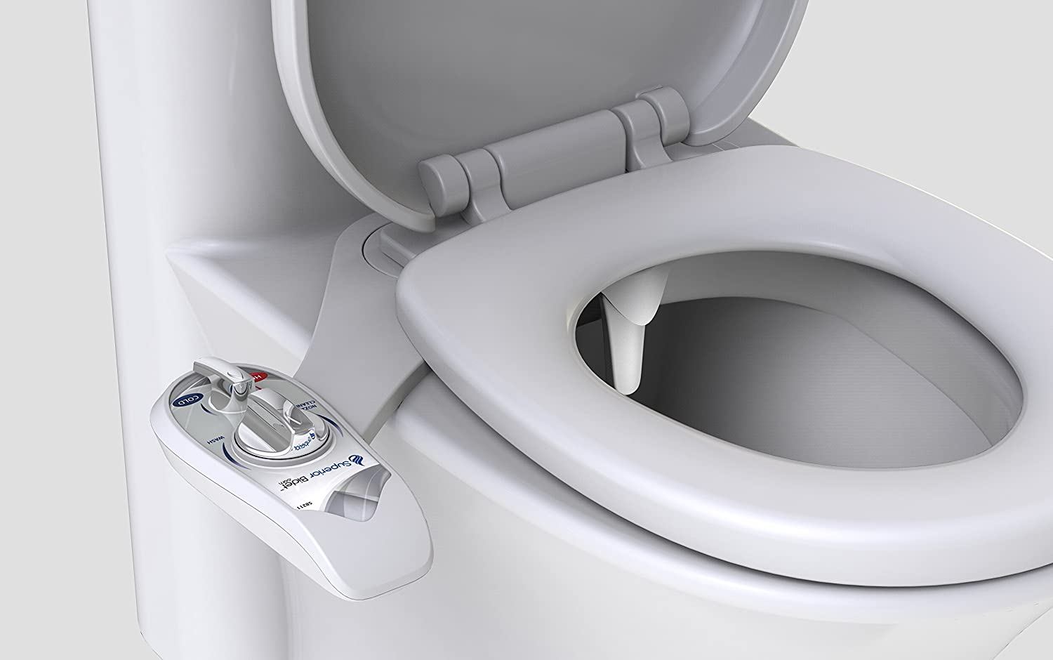 Dual Nozzle Design For Front and Rear Cleaning Superior Bidet All Around Warm Adjustable Nozzles Adapt To Any Body Type For Easy Cleaning Hot and Cold White Bidet Attachment