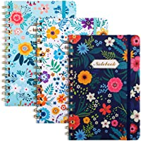 """EOOUT 3 Pack A5 Spiral Notebook, Ruled Journal, Hardcover Notebook, 6""""x 8.5"""", 160 Pages, Cute Blooming Floral, Twin-Wire…"""