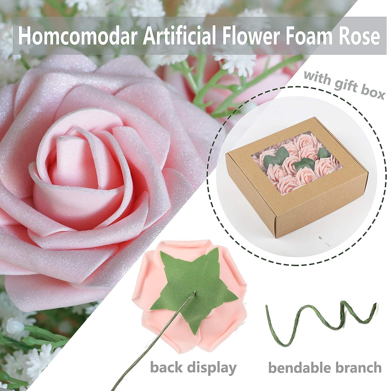 Homcomodar D/écoratif Artificiel Fleurs Rose Rose Mousse 50Pc avec Coffret Cadeau Faux Shinning des Roses Fleur Bouquets pour Mariage F/ête DIY D/écoration