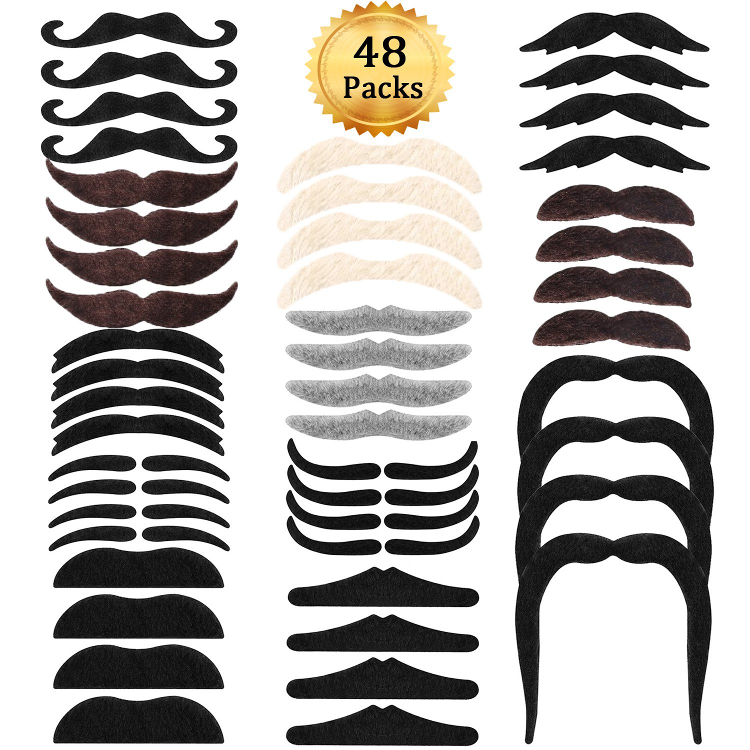 Whaline 48 Pieces Fake Mustaches Self Adhesive Novelty Mustaches Party Favors Costume Performance