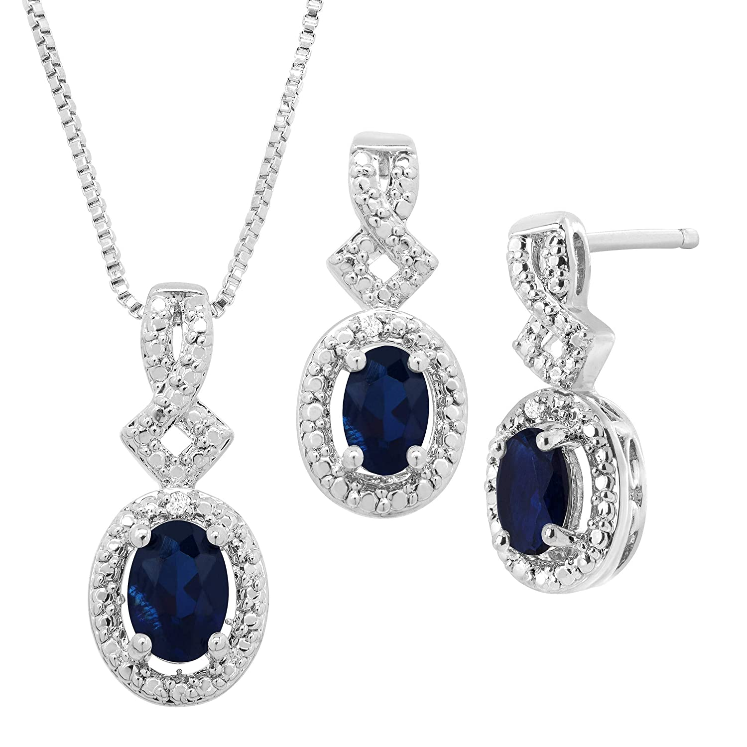 Bracelet Created Gemstone Pendant Earring /& Ring Set with Diamonds in 14K Gold-Plated Brass